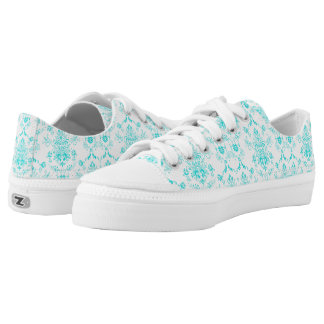 Aqua Damask on White Chic Design Low-Top Sneakers