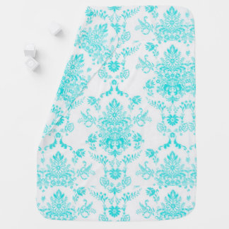 Aqua Damask on White Design Baby Blanket