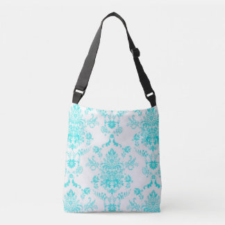 Aqua Damask on White Design Crossbody Bag