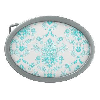 Aqua Damask on White Design Oval Belt Buckle