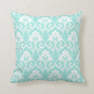 Aqua Damask Pattern Print Pillow/Cushion