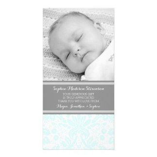 Aqua Damask Thank You Baby Shower Photo Cards