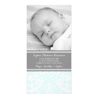 Aqua Damask Thank You Baby Shower Photo Cards