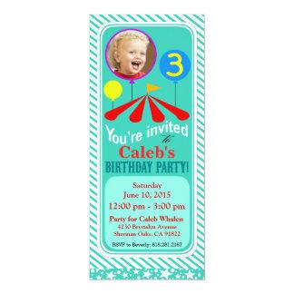 Aqua de la fête d'anniversaire d'amusement de carton d'invitation  10,16 cm x 23,49 cm