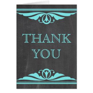 Aqua Deco Chalkboard Thank You Card