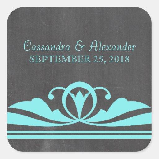 Aqua Deco Chalkboard Wedding Stickers