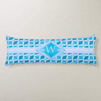 Aqua Diamond Ice Pattern Monogram Body Pillow