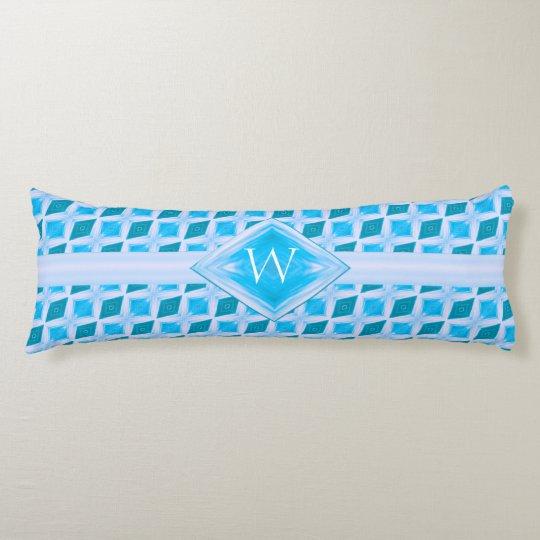 Aqua Diamond Ice Pattern Monogram Body Pillow