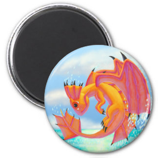 Aqua Dragon 2 Inch Round Magnet
