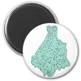 aqua dress 2 inch round magnet