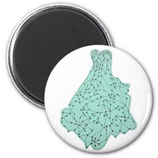 aqua dress 2 inch round magnet