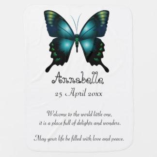 Aqua  Elegant Whimsical  Butterfly Baby Blanket