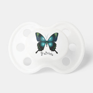 Aqua  Elegant Whimsical  Butterfly Pacifier