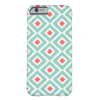 Aqua et diamants de corail d'Ikat Coque Barely There iPhone 6
