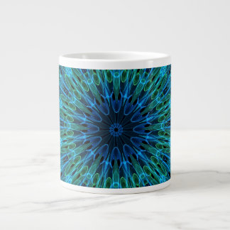 Aqua Explosion Kaleidoscope Large Coffee Mug