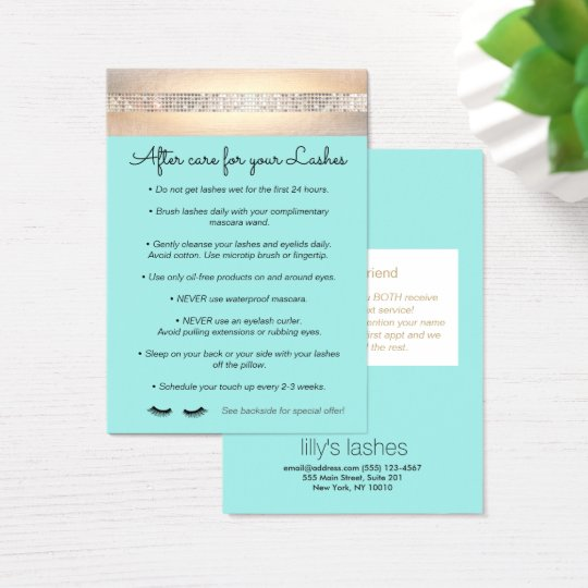 Aqua Eyelash Extensions Aftercare Instructions Business Card