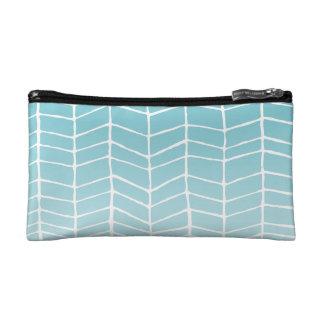 Aqua faded herringbone cosmetic bag. makeup bag