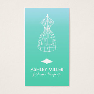 Aqua Fashion Designer Dress Form Business Card