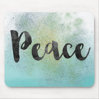 Aqua Faux Glitter Ombre Watercolor Peace Mouse Pad