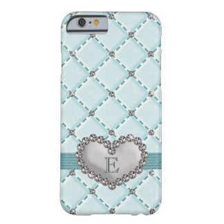 Aqua Faux Quilted Rhinestone Heart Barely There iPhone 6 Case