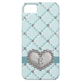 Aqua Faux Quilted Rhinestone Heart iPhone 5 Cover