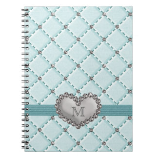 Aqua Faux Quilted Rhinestone Heart Spiral Notebook