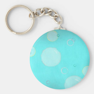 Aqua Floating circles and bubbles keychains
