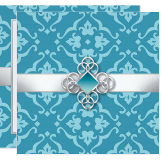 Aqua Floral Damask Jewel Wedding Invitation