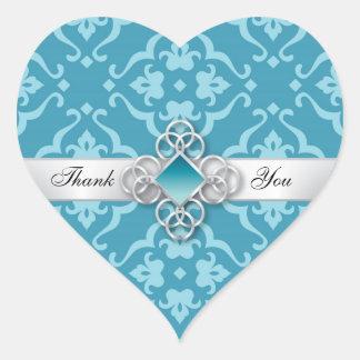 Aqua Floral Damask Topaz Jewel Wedding Heart Sticker