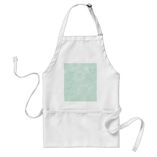 Aqua Floral Design Modern Abstract Flowers Aprons