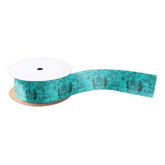 Aqua Floral Design Satin Ribbon