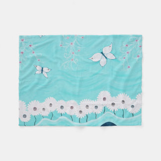 Aqua Floral Fleece Blanket