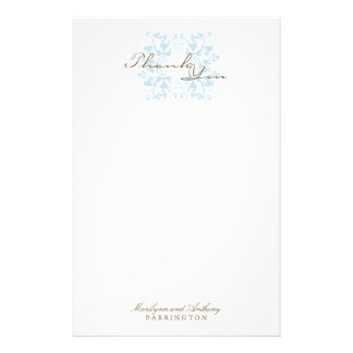 Aqua Floral Flourish Wedding Thank You Stationery