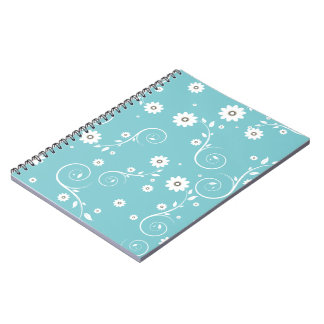 Aqua Floral Notebook