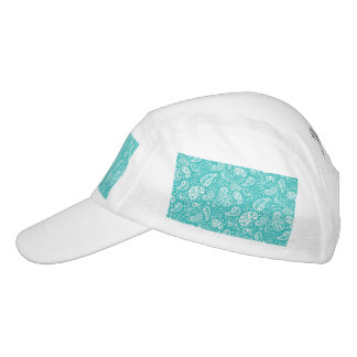 Aqua Floral Paisely Pattern Headsweats Hat