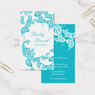 Aqua Floral Paisley Peacock Stylish Chic Elegant Business Card