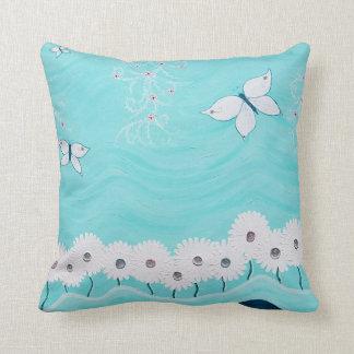 Aqua Floral Throw Pillow