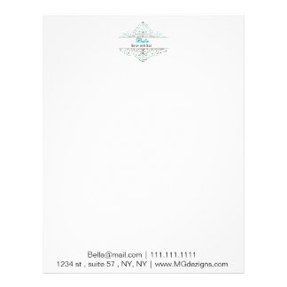 Aqua Flourish Personalized Business Stationery Personalized Letterhead