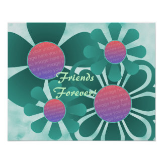 Aqua Flowers Photo Frame Print