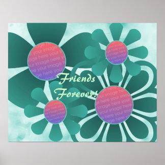 Aqua Flowers Photo Frame Print