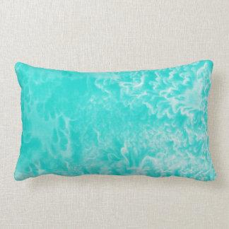 'Aqua Foam' Abstract Silk Watercolor Lumbar Pillow