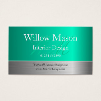 Aqua Foil & Brushed Steel Monogram Business Card