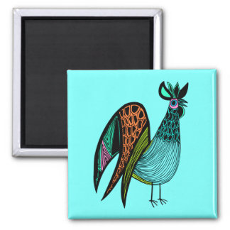 Aqua Folk Art Rooster Square Magnet
