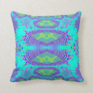 Aqua Fractal Lumber Pillow