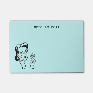 Aqua Funny Retro Housewife Note to Self