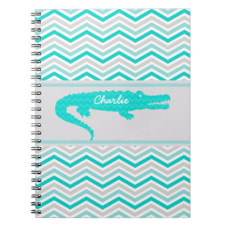 Aqua Gator on Chevron Personalized Notebook