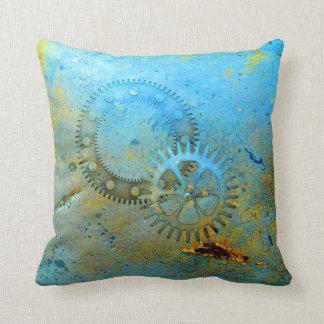 Aqua Gears Steampunk Pillow