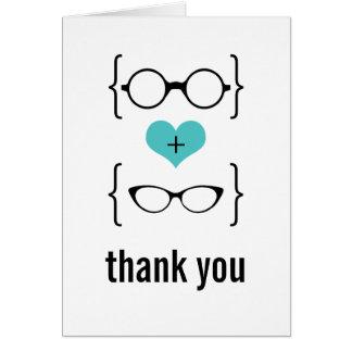 Aqua Geeky Glasses Thank You Card