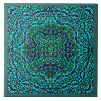 """Aqua Geo Jewel"" Mandala Tile (Frame)"