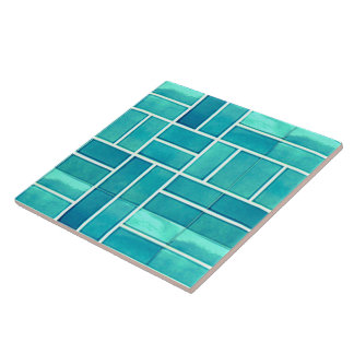 Aqua geometric stone-look pattern tile